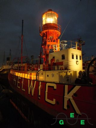 The Hellwick all lit up at night.