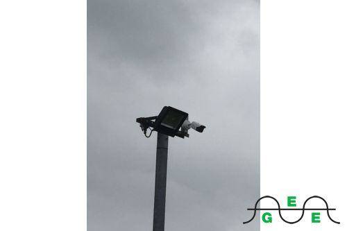 Camera installed on post